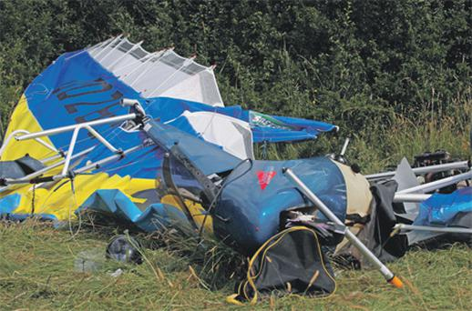 The wreckage of the two-seater aircraft that crashed near Slievenamon, Mullinahone, Co Tipperary, yesterday