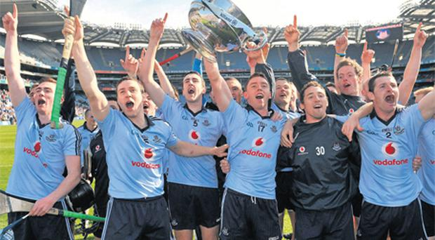 Dublin's hurlers celebrate winning the National League crown with a thumping victory over Kilkenny in May