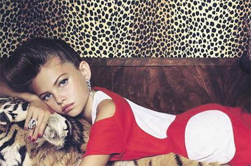 Controversial: Thylane Lena-Rose Blondeau is seen here posing for 'Paris Vogue'