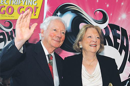 Possible presidential candidate and broadcasting legend Gay Byrne with his wife Kathleen at the opening night of 'Grease' at the Grand Canal Theatre in Dublin last night