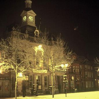 Handout photo from the National Archives of a supposed UFO (right of clock tower) over Retford Town Hall, Nottinghamshire