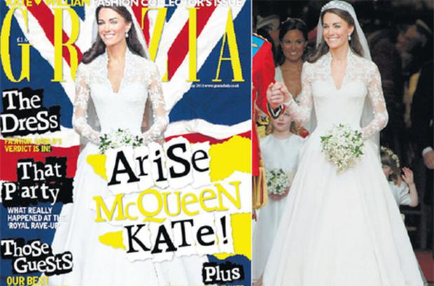 The cover of Grazia magazine (left), and the original shot of the Duchess on her wedding day