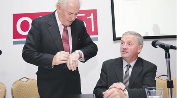 Former One51 chief executive Philip Lynch (left) and chairman Denis Buckley at the July 2009 AGM of the investment group held in Dublin's Shelbourne Hotel