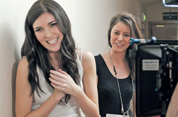 Hannah Devane with another unidentified contestant during auditions for 'Britain & Ireland's Next Top Model'