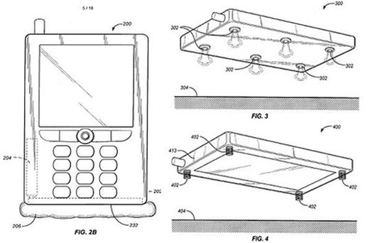 The patent suggests jets of air and springs as a way of protecting a falling mobile phone