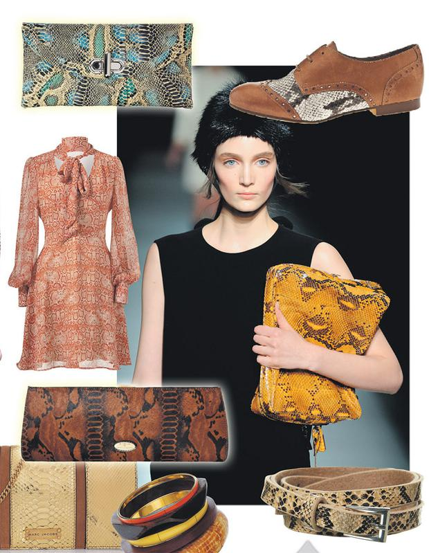 Above, top to bottom: Clutch, €42, Star by Julien Macdonald at Debenhams; pussybow snake-print dress in terracotta, €19, Penneys; tan bag, €143, Pied à Terre at House of Fraser, Dundrum; 'Tiger Lily' gold python and leather clutch, €1,195, Marc Jacobs at Net-A-Porter.com; bracelets, €16.50, Topshop. <br/> Right, top to bottom: 'Mel' laced-up brogue, €80, Schuh; reptilian colour on the Prada catwalk; belt, €14, Topshop