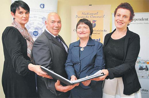 At yesterday's launch of the Leaving Cert Helpline were, from left, Eircom's Carolan Lennon, NPCpp president Tommy Walsh, IGC president Eilis Coakley and Irish Independent Education Correspondent Katherine Donnelly