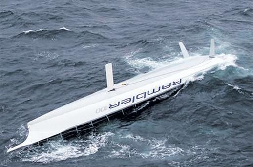 The yacht Rambler off the west Cork coast after it capsized during the Fastnet race yesterday