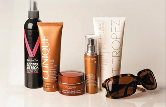 Pictured, from left: Rockstar Tan Access All Areas Self-Tan Spray; Clinique Self Sun Body Tinted Lotion in Light/ Medium; Clarins Instant Smooth Self Tanning; Lancome Flash Bronzer Anti-Age in Golden; St Tropez Naturals Self Tan Lotion