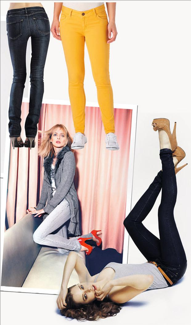 From top left: Skinny jeans, €169, Hello! SkinnyJeans at The White Door; Yellow jeans, €32.99, New Look; Grey jeans, €115, Betty Barclay; Vest top, €5; jeans, €9, and shoes, €21, all Penneys