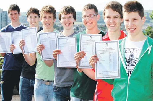 From left, Michael Killian, Cillian Williamson, Aidan O'Dowling, Patrick O'Dwyer, Simon Treacy, Conor Barry and Paul Ring of Christian Brothers College in Cork all scored straight A results in the Leaving Cert