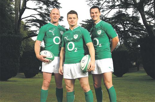 At the announcement of O2's renewed sponsorship with the IRFU were rugby players and O2 brand ambassadors, Brian O'Driscoll, Paul O'Connell and Jonathan Sexton