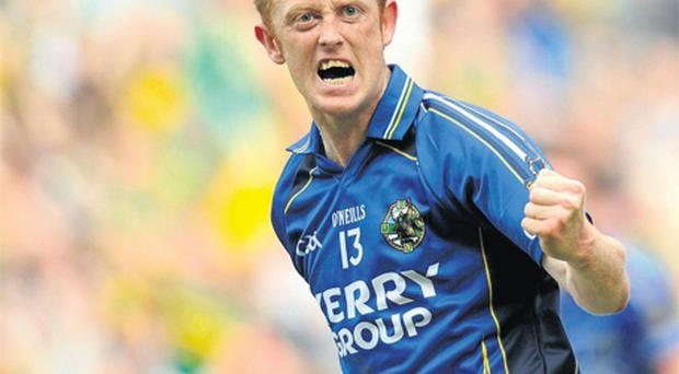 Colm Cooper celebrates after scoring Kerry's only goal in the second half of yesterday's All-Ireland SFC semi-final against Mayo