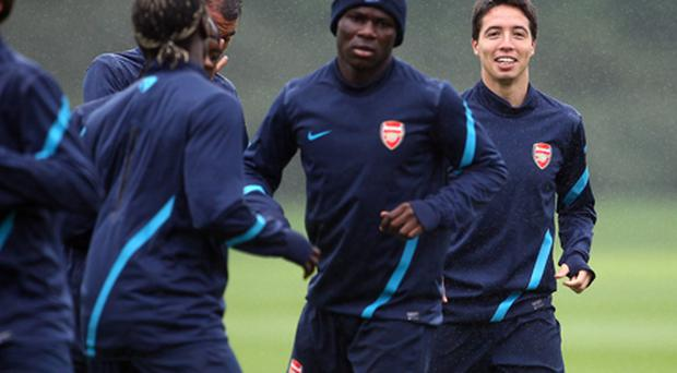 Nasri trained with the Arsenal squad this morning. Photo: Getty Images