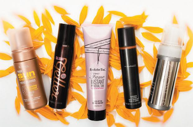 Pictured, from left: Rimmel Sun Shimmer Instant Tan Makeup Bronzing Mousse; Soap and Glory Glow Getter; Rockstar Tan Fame Instant Mineral Tan; Mac Skinsheen Leg Spray; St Tropez Instant Glow Mousse