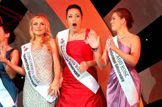 Queensland Rose Tara Talbot can't believe it as she is named the 53rd Rose of Tralee last night