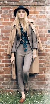 Camel coat, €234; check jacket, €65, and check trousers, €97, all from Warehouse