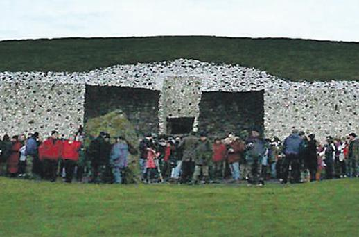 People gathering at Newgrange Neolithic Tomb in Co Meath, for the annual winter solstice