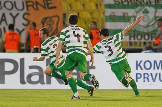 Pat Sullivan celebrates with team-mates after scoring Shamrock Rovers' first goal against Partizan Belgrade. Photo: Sportsfile