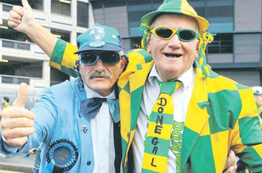 Dublin supporter Gerry Horan, from Drumcondra, and Donegal fan John Porter, from Buncrana, at the game