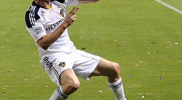 Robbie Keane perfrms his trademark goal celebration during his debut for LA Galaxy. Photo: Getty Images