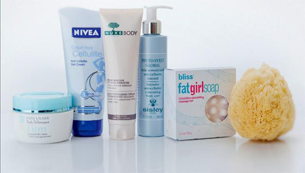 Pictured, from left: Estee Lauder Body Performance Firming Body Creme; Nivea Good-bye Cellulite; Nuxe Body Contouring Serum for Embedded Cellulite; Sisley Phyto-Svelt Global; Bliss fatgirlsoap