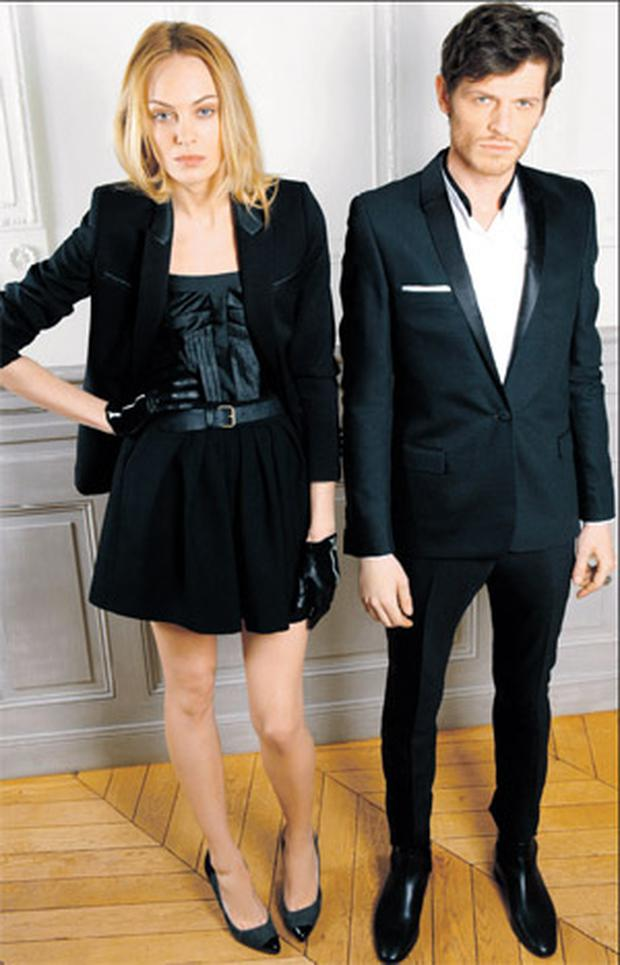 Her, skirt, €170; top, €160; jacket, €355; gloves, €90, and shoes, €270 Him, blazer €360; trousers, €175, and shirt, €130
