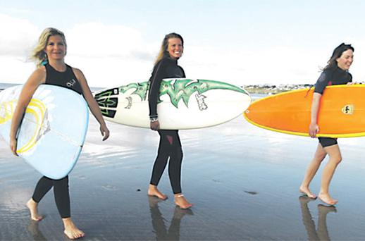 Abbey Cullen, Rose Drea and Claire Dempsey at the launch yesterday of the Oceanic Surf and Sea Festival in Tramore, Co Waterford