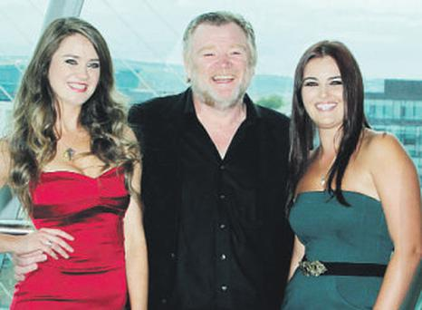 Actor Brendan Gleeson with TG4 presenters Linda Breathnach, left, and Sile Ni Bhronain at the station's autumn launch yesterday