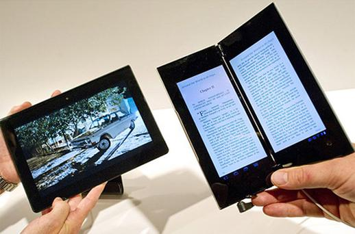 The Sony S tablet, left, alongside the dual-screen Sony P tablet. Photo: Getty Images