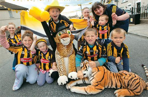 Kilkenny supporters (back from left) Faith Duggan, Cian Maher, Denise Quirke, Ann Duggan and Evan Quirke Duggan, (front from left) Rea Maher, Latoya Maher, Kyle Maher, Rhys Duggan Kerwick and Josh Quirke Duggan on Pearse Street in Kilkenny, yesterday