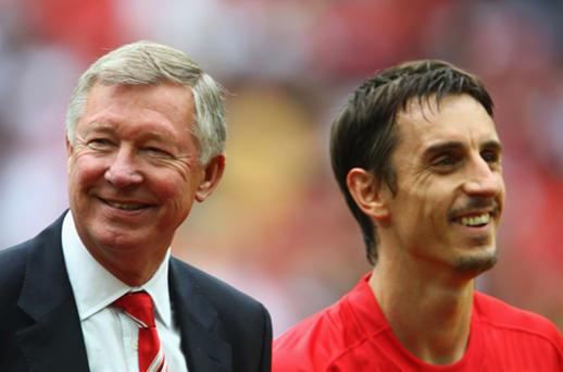 Alex Ferguson and Gary Neville. Photo: Getty Images