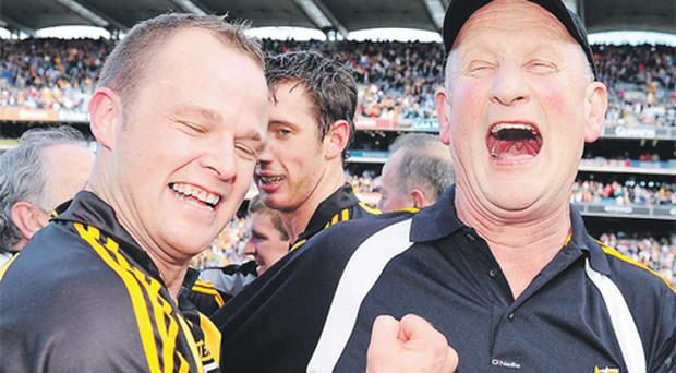 Kilkenny manager Brian Cody celebrates with Tommy Walsh as the Cats became All-Ireland hurling champions for the 33rd time