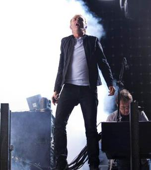 Underworld frontman Karl Hyde takes the Electric Picnic Main Stage by storm. Photo: Tony Kinlan