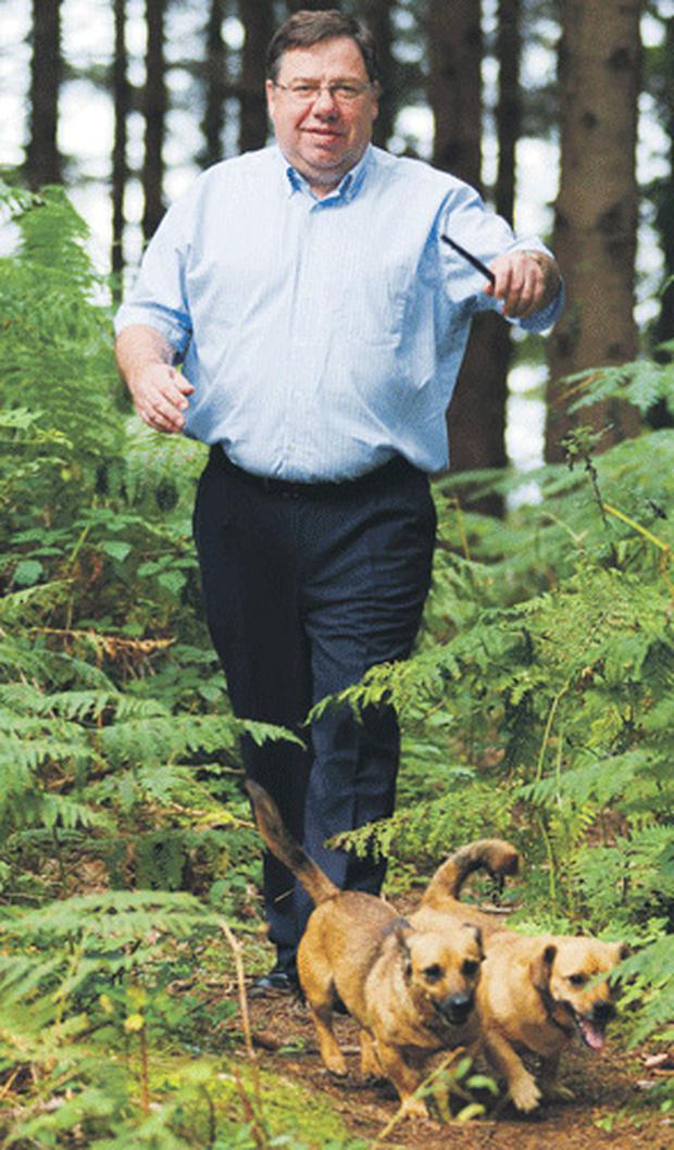 How now, Brian Cowen?: the former Taoiseach walking with the family dogs, Sparky and Darcy
