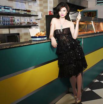 Patrice de Villiers's portrait of Sophie Ellis-Bextor from 'LoveMusic LoveFood: The Rockstar Cookbook', in support of Teenage Cancer Trust