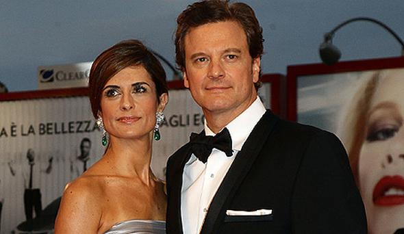 Firth with wife Livia Giuggioli at the Venice International Film Festival. Photo: Getty Images