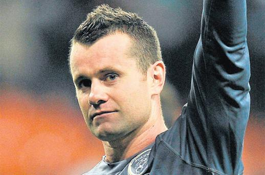 Shay Given leaves the pitch yesterday after Ireland's 0-0 draw against Russia in Moscow