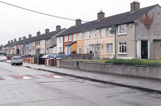 The scene of the shooting in Ballyfermot, Dublin, yesterday