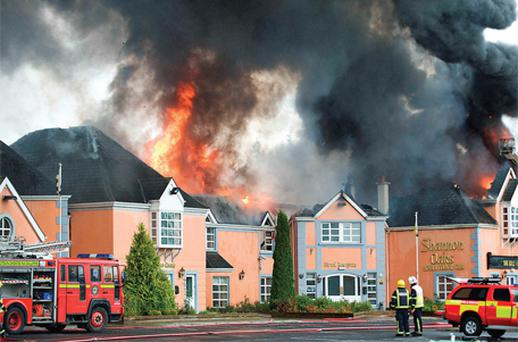 The scene of a massive fire at the Shannon Oaks Hotel in Portumna, Co Galway, yesterday