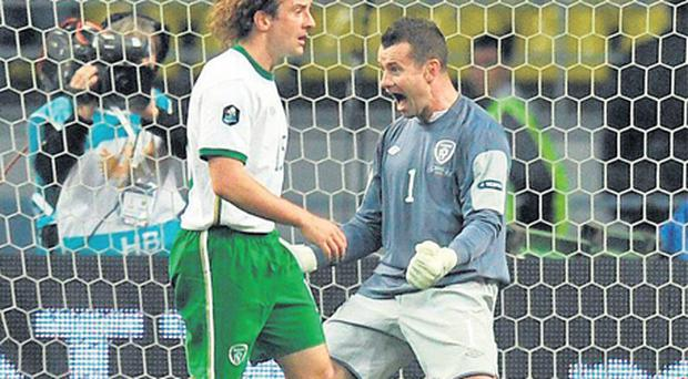 Shay Given reacts after making a late save from Konstantin Zyryanov during the onlaught which Ireland survived in Moscow on Tuesday