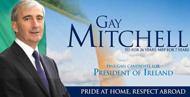 Gay Mitchell poster: with a comma.