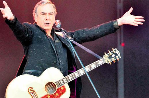 Neil Diamond on stage at the Aviva Stadium in Dublin on Saturday night