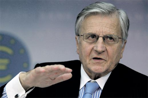 ECB president Jean-Claude Trichet addressing his monthly news conference at the ECB headquarter in Frankfurt, yesterday