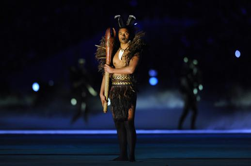 A Maori performs during the opening ceremony of the 2011 Rugby World Cup at the Eden Park stadium in Auckland