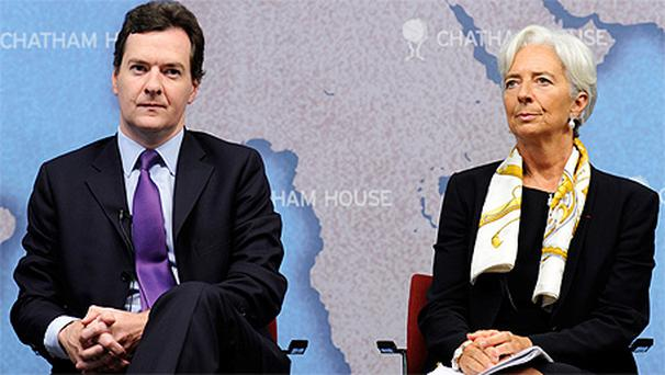 George Osborne and IMF chief Christine Lagarde at a debate in Chatham House, London. Photo:Getty Images