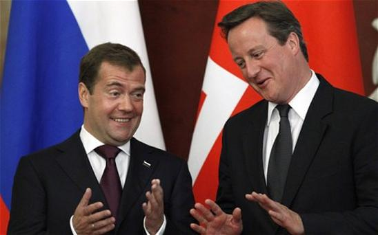 Russian President Dmitry Medvedev, left, and British Prime Minister David Cameron. Photo: AP