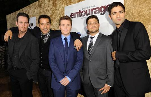 The Entourage cast, Jerry Ferrara, Kevin Dillon (who plays Johnny 'Drama' Chase), Kevin Connolly and Adrian Grenier.