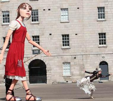 Macnas giant 'Mistress of Invention' puppet