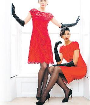 Louise Red Silk Dress, and Yasmin Red Lace Dress